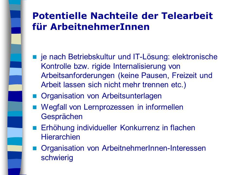 Potentielle Nachteile der Telearbeit für ArbeitnehmerInnen je nach Betriebskultur und IT-Lösung: elektronische Kontrolle bzw. rigide Internalisierung