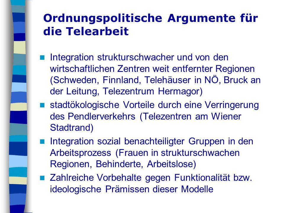 Ordnungspolitische Argumente für die Telearbeit Integration strukturschwacher und von den wirtschaftlichen Zentren weit entfernter Regionen (Schweden,