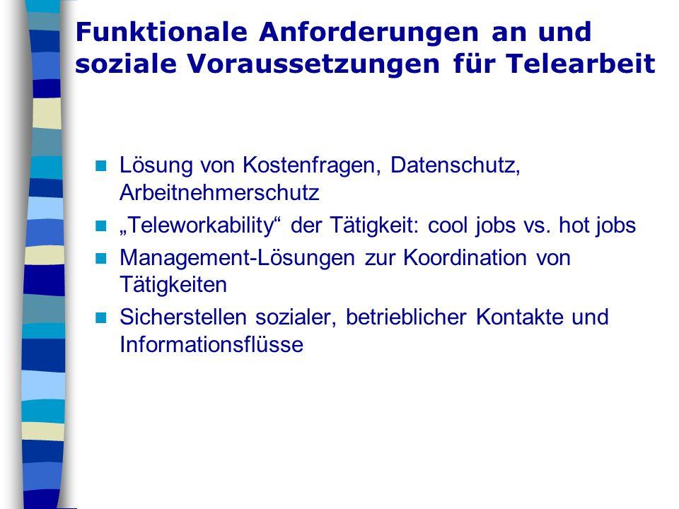 Funktionale Anforderungen an und soziale Voraussetzungen für Telearbeit Lösung von Kostenfragen, Datenschutz, Arbeitnehmerschutz Teleworkability der T