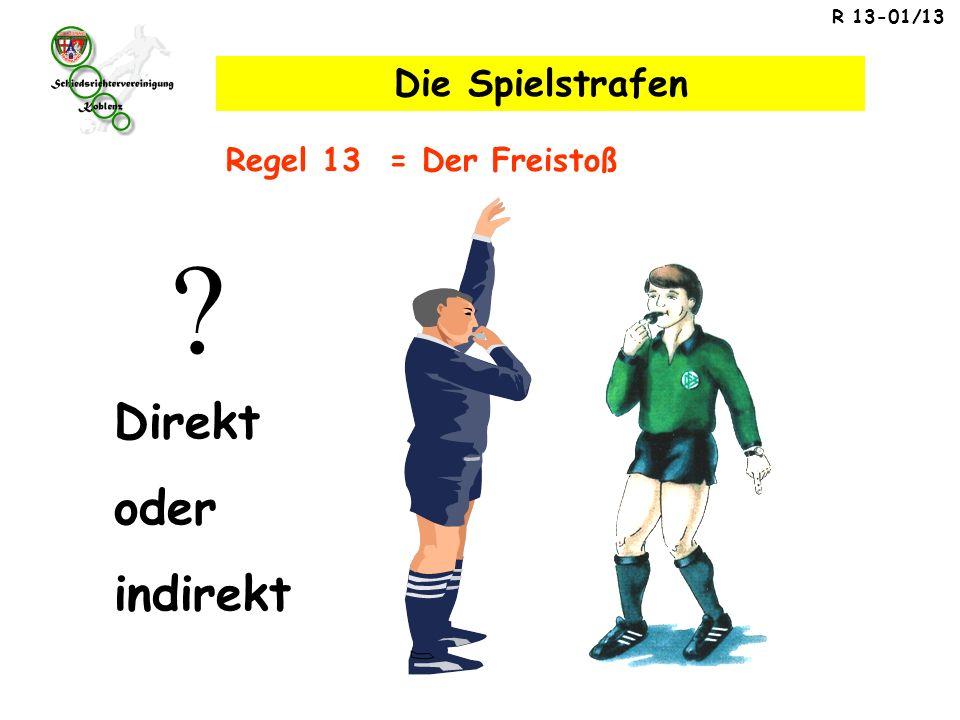 R 13-01/13 Regel 13 = Der Freistoß Die Spielstrafen Direkt oder indirekt ?