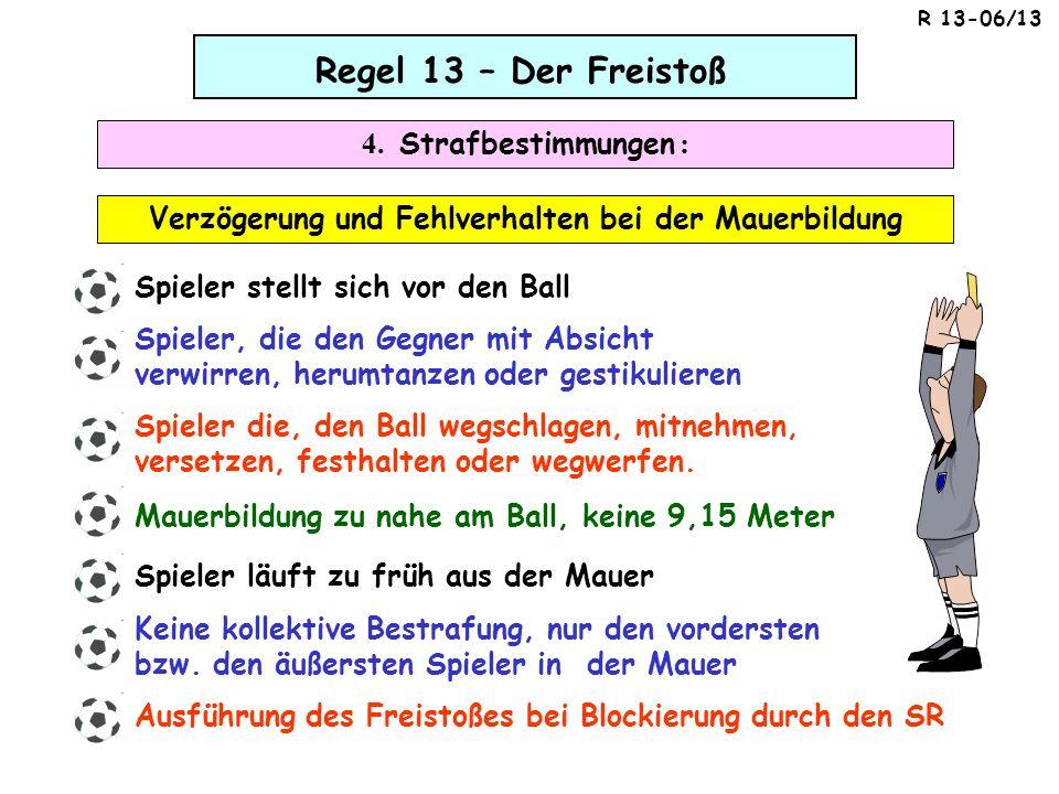 Regel 13 – Der Freistoß 4. Strafbestimmungen : Verzögerung und Fehlverhalten bei der Mauerbildung Spieler stellt sich vor den Ball Spieler, die den Ge