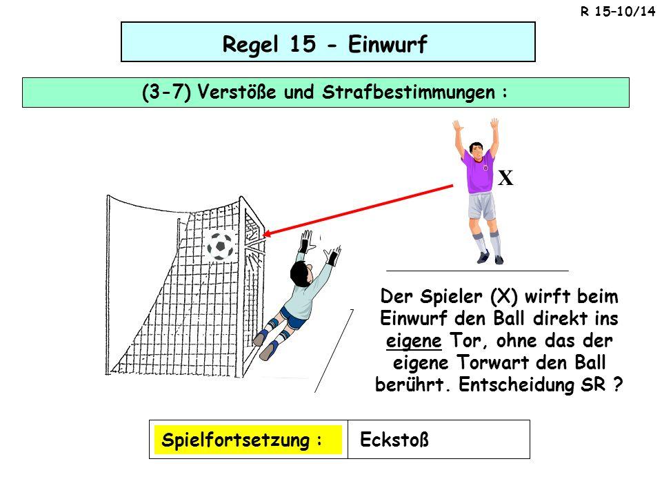 Regel 15 - Einwurf (3-7) Verstöße und Strafbestimmungen : Spielfortsetzung :Eckstoß Der Spieler (X) wirft beim Einwurf den Ball direkt ins eigene Tor,
