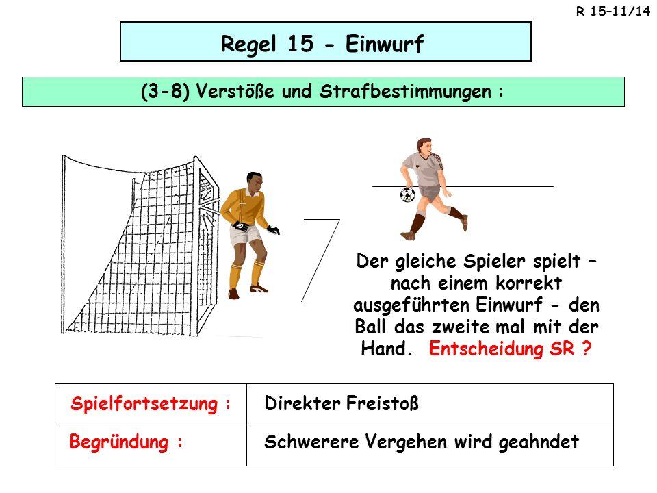 Regel 15 - Einwurf (3-8) Verstöße und Strafbestimmungen : Der gleiche Spieler spielt – nach einem korrekt ausgeführten Einwurf - den Ball das zweite m