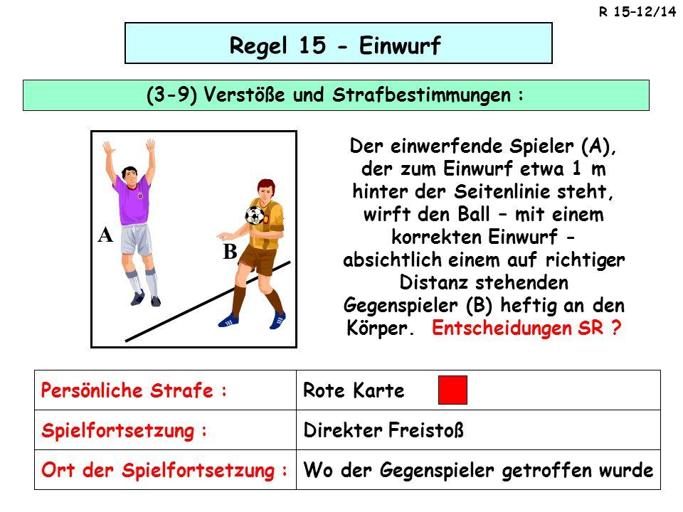 Regel 15 - Einwurf (3-9) Verstöße und Strafbestimmungen : Rote Karte Wo der Gegenspieler getroffen wurde A B A B Der einwerfende Spieler (A), der zum