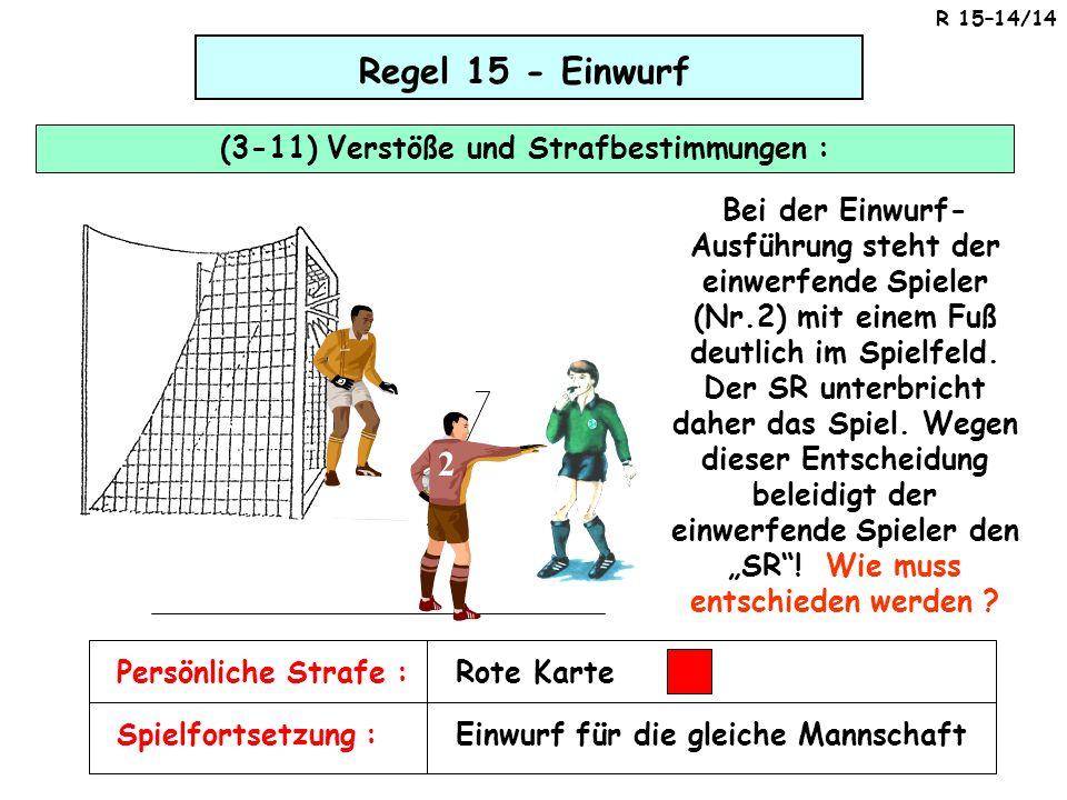 Regel 15 - Einwurf (3-11) Verstöße und Strafbestimmungen : Rote Karte 2 Bei der Einwurf- Ausführung steht der einwerfende Spieler (Nr.2) mit einem Fuß