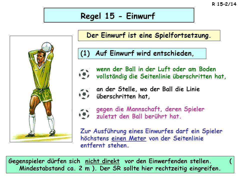 Regel 15 - Einwurf Der Einwurf ist eine Spielfortsetzung. (1) Auf Einwurf wird entschieden, wenn der Ball in der Luft oder am Boden vollständig die Se