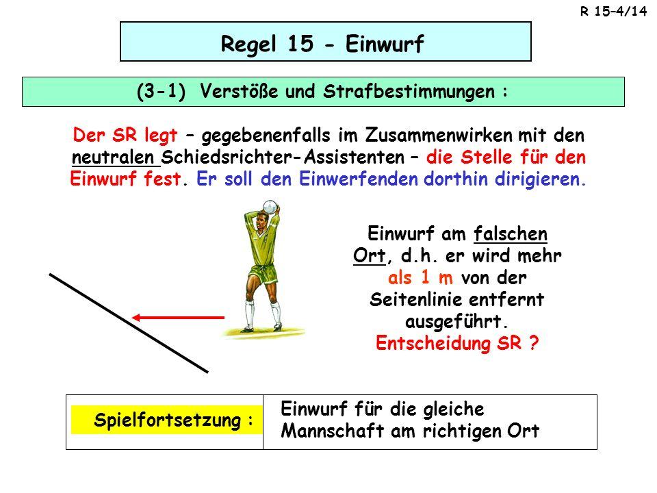 Regel 15 - Einwurf (3-1) Verstöße und Strafbestimmungen : Der SR legt – gegebenenfalls im Zusammenwirken mit den neutralen Schiedsrichter-Assistenten