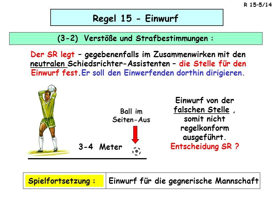 Regel 15 - Einwurf (3-2) Verstöße und Strafbestimmungen : Der SR legt – gegebenenfalls im Zusammenwirken mit den neutralen Schiedsrichter-Assistenten
