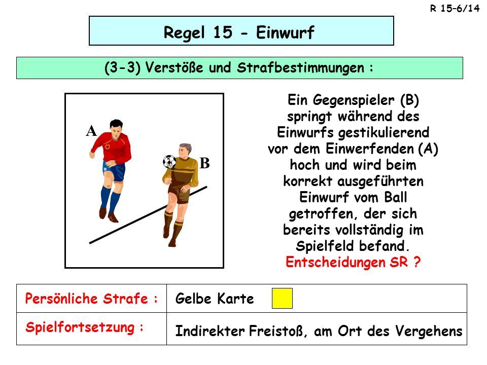 Regel 15 - Einwurf (3-3) Verstöße und Strafbestimmungen : Spielfortsetzung : Persönliche Strafe :Gelbe Karte Indirekter Freistoß, am Ort des Vergehens