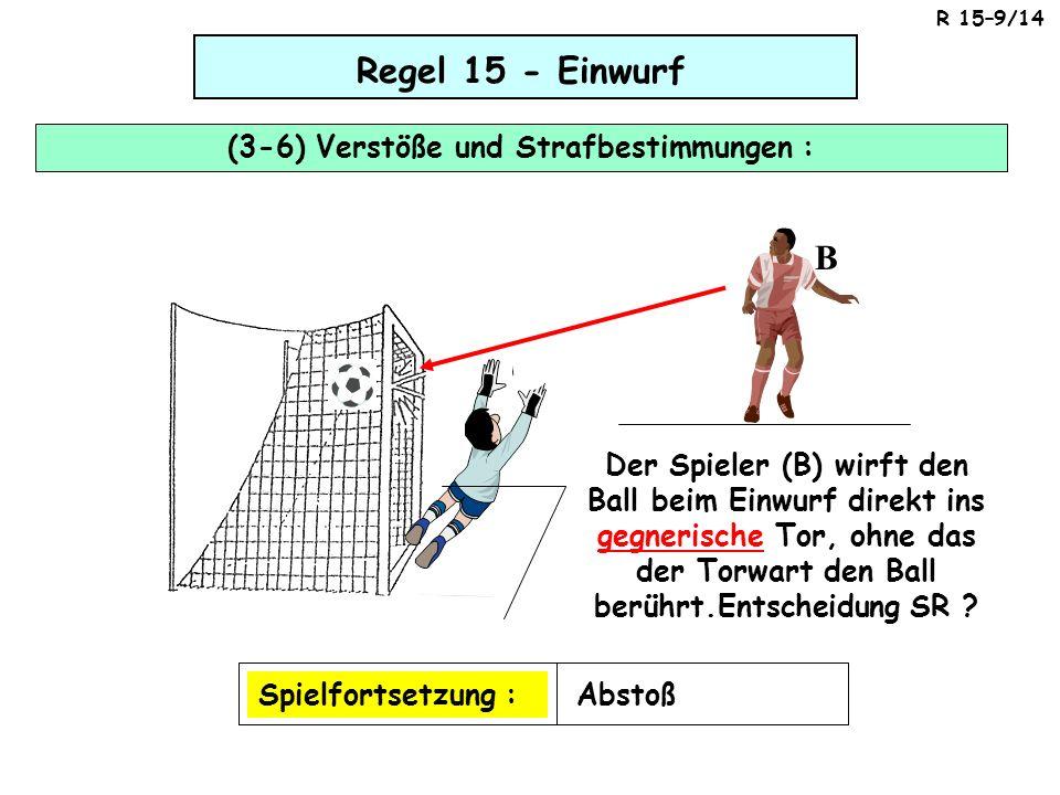 Regel 15 - Einwurf (3-6) Verstöße und Strafbestimmungen : Spielfortsetzung :Abstoß Der Spieler (B) wirft den Ball beim Einwurf direkt ins gegnerische