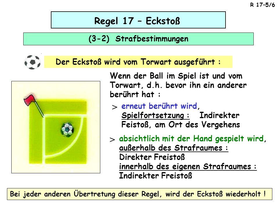 Regel 17 – Eckstoß (3-2) Strafbestimmungen Wenn der Ball im Spiel ist und vom Torwart, d.h.