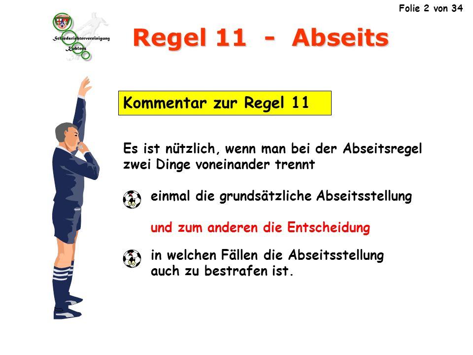 Regel 11 - Abseits Ein Spieler befindet sich nicht in einer Abseitsstellung, in seiner eigenen Spielfeldhälfte A B B Position 1 3.1.