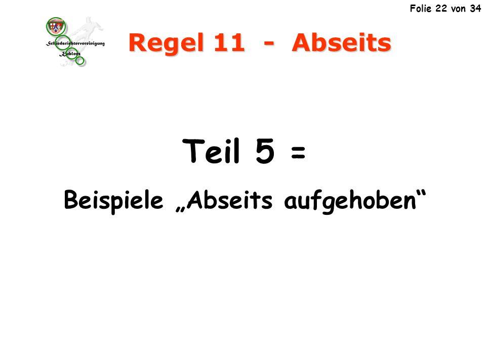 Regel 11 - Abseits Teil 5 = Beispiele Abseits aufgehoben Folie 22 von 34