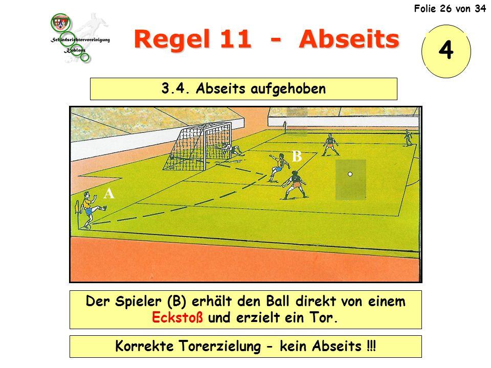 Regel 11 - Abseits 3.4.