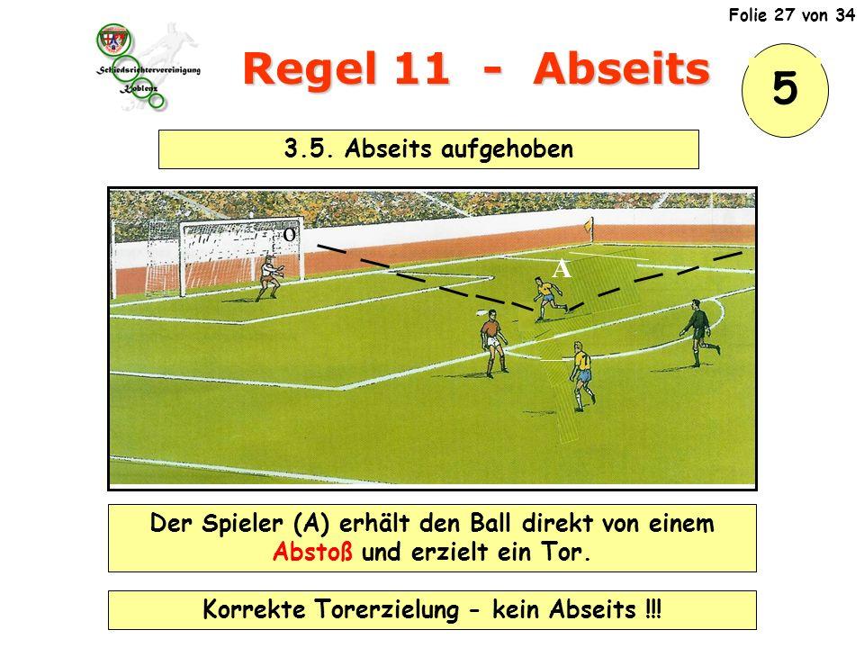 Regel 11 - Abseits o A Der Spieler (A) erhält den Ball direkt von einem Abstoß und erzielt ein Tor.