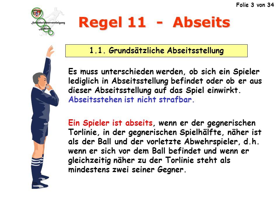 Regel 11 - Abseits Ein Spieler ist abseits, wenn er der gegnerischen Torlinie, in der gegnerischen Spielhälfte, näher ist als der Ball und der vorletzte Abwehrspieler .