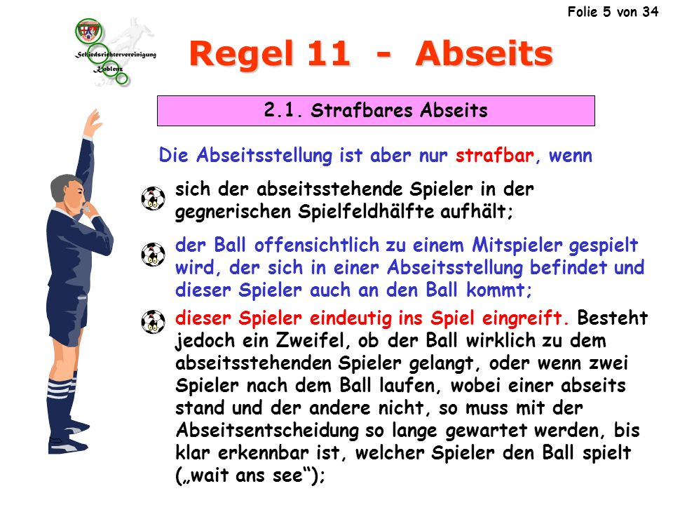 Regel 11 - Abseits 2.2.