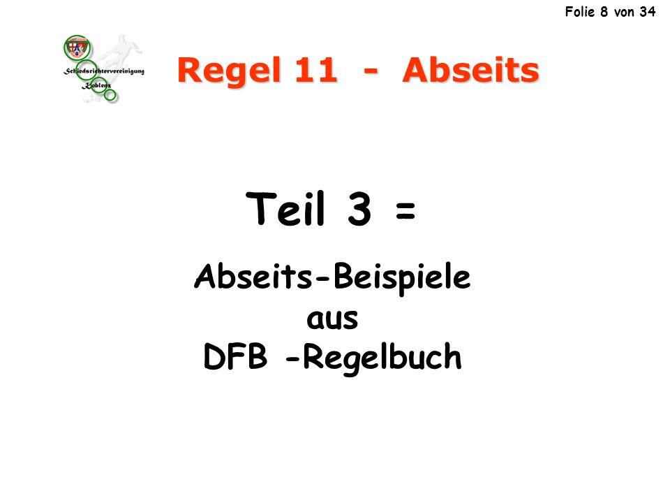 11 Regel 11 - Abseits Der Schuss des Angreifers Nr.9/B wird vom gegnerischen Spieler Nr.5/G zum Angreifer Nr.8/B abgelenkt, der den Ball dann ins Tor schießt.
