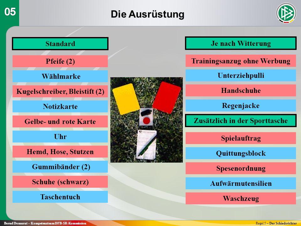 Die Ausrüstung Bernd Domurat – Kompetenzteam DFB-SR-KommissionRegel 5 – Der Schiedsrichter Standard Je nach Witterung Pfeife (2) Wählmarke Kugelschrei