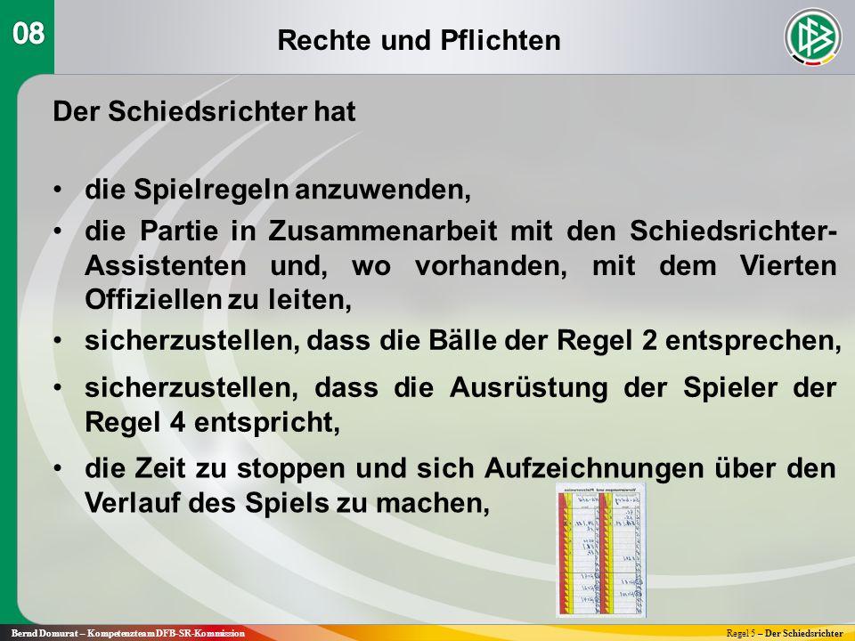 Rechte und Pflichten Bernd Domurat – Kompetenzteam DFB-SR-KommissionRegel 5 – Der Schiedsrichter Der Schiedsrichter hat die Spielregeln anzuwenden, si