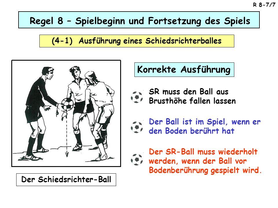 Korrekte Ausführung SR muss den Ball aus Brusthöhe fallen lassen Der Ball ist im Spiel, wenn er den Boden berührt hat Der SR-Ball muss wiederholt werd