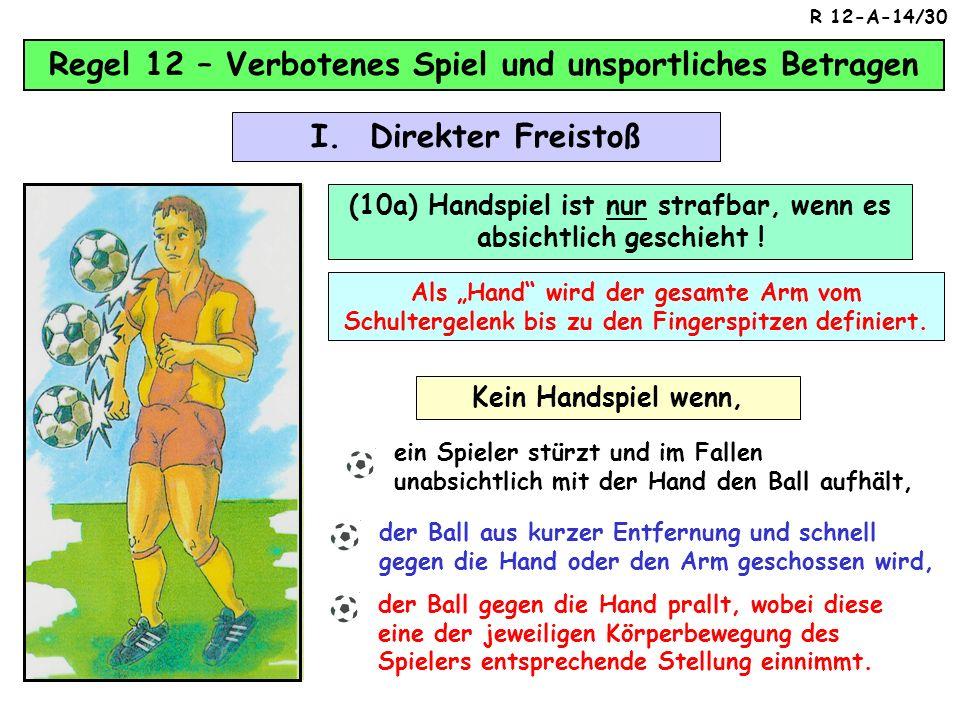 Regel 12 – Verbotenes Spiel und unsportliches Betragen (9.1.) Einen Gegner anspuckt / anwirft oder es versucht Fall 1Fall 2 I. Direkter Freistoß R 12-