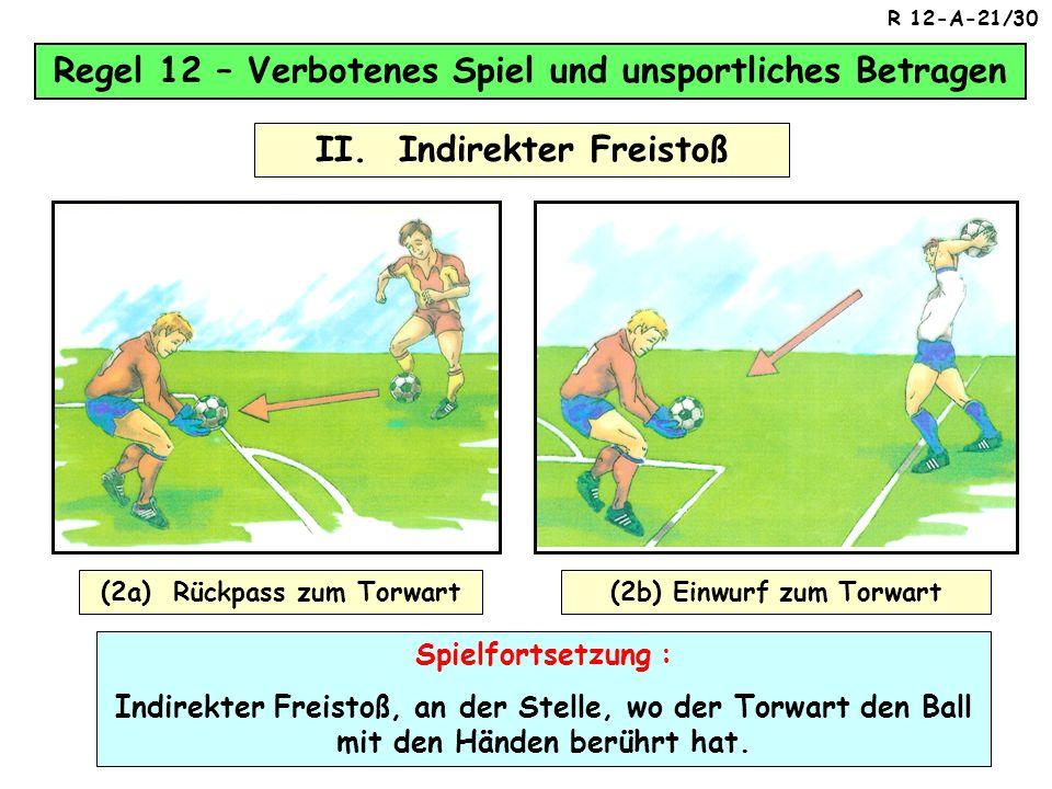 Regel 12 – Verbotenes Spiel und unsportliches Betragen II. Indirekter Freistoß (1) Ein Torwart verursacht einen indirekten Freistoß für die gegnerisch