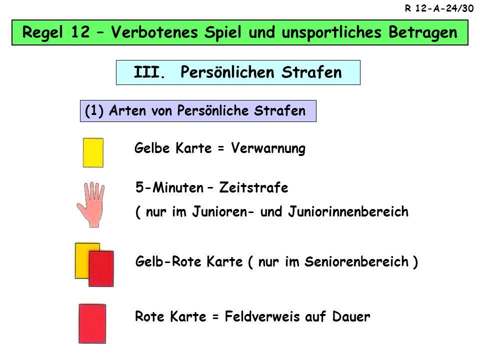Regel 12 – Verbotenes Spiel und unsportliches Betragen II. Indirekter Freistoß 1. gefährlich spielt Außerdem verursacht ein Spieler einen indirekten F