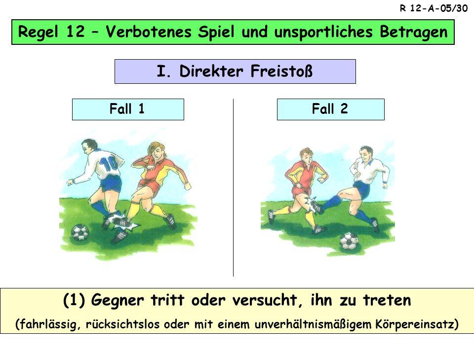 Regel 12 – Verbotenes Spiel und unsportliches Betragen Gelbe Felder = Der Versuch ist bereits strafbar ! Die 10 Verstöße der Regel 12 (10) Absichtlich