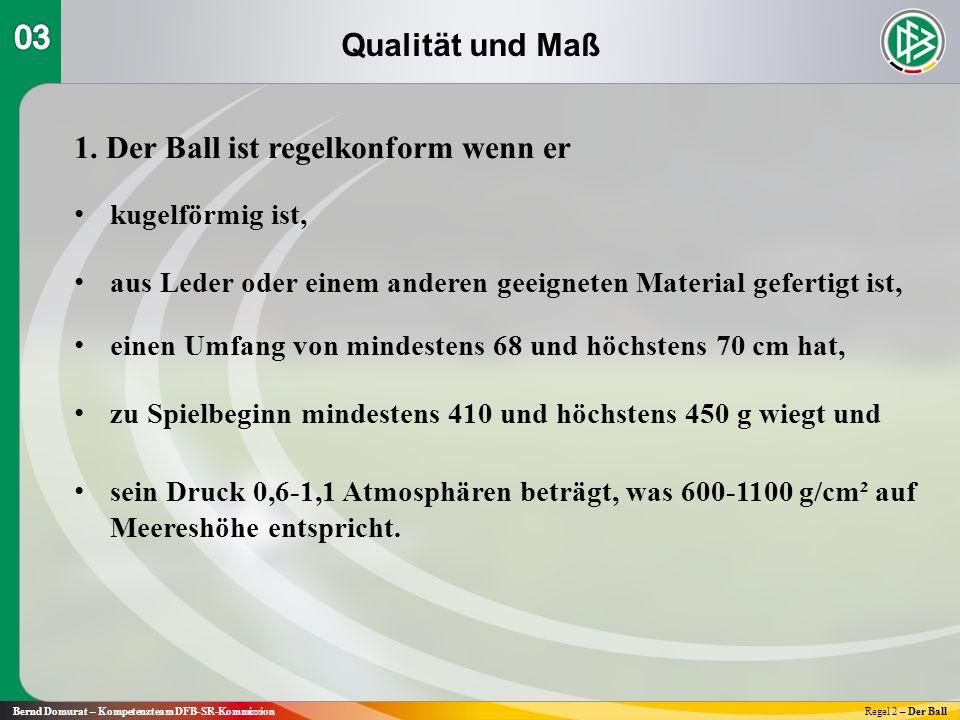 Qualität und Maß Bernd Domurat – Kompetenzteam DFB-SR-KommissionRegel 2 – Der Ball 1.