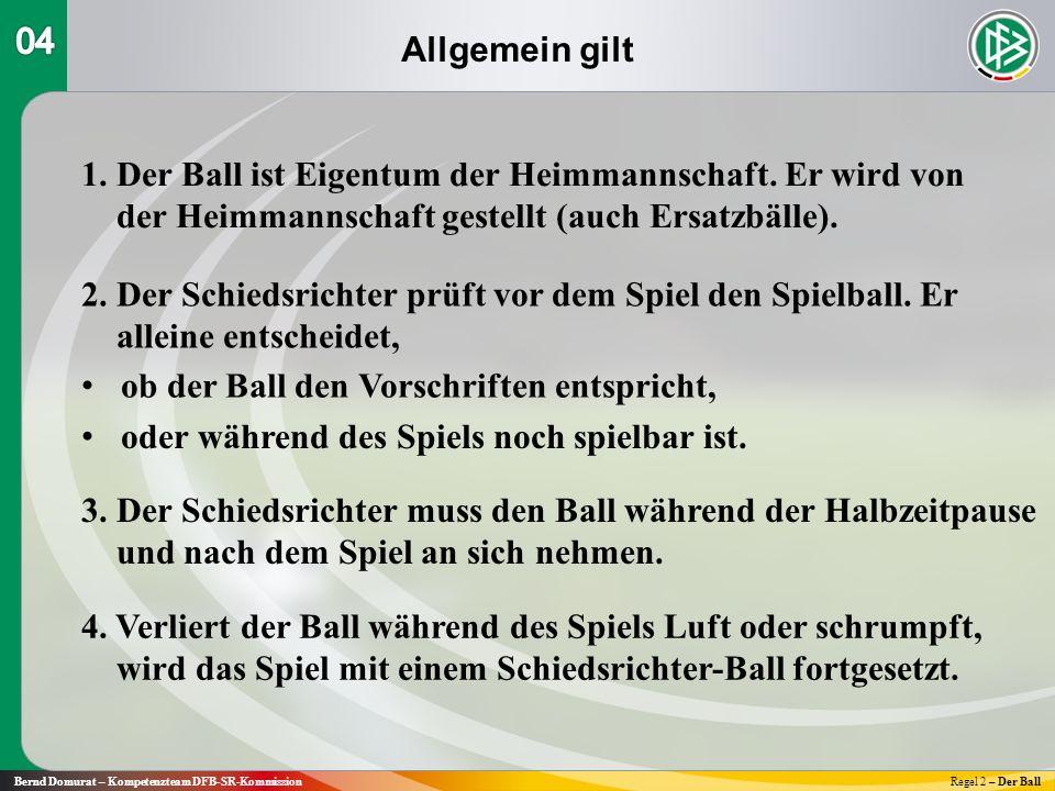 Allgemein gilt Bernd Domurat – Kompetenzteam DFB-SR-KommissionRegel 2 – Der Ball 1.