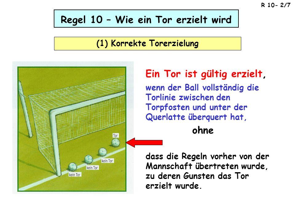 Regel 10 – Wie ein Tor erzielt wird (1) Korrekte Torerzielung dass die Regeln vorher von der Mannschaft übertreten wurde, zu deren Gunsten das Tor erz