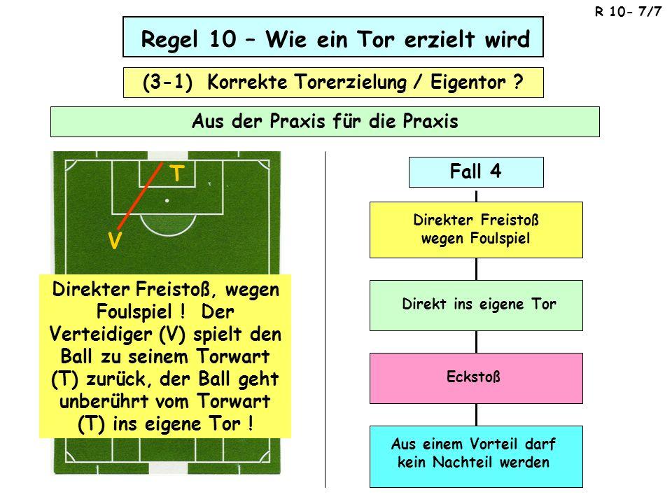 Regel 10 – Wie ein Tor erzielt wird Aus der Praxis für die Praxis (3-1) Korrekte Torerzielung / Eigentor ? T V Direkter Freistoß, wegen Foulspiel ! De