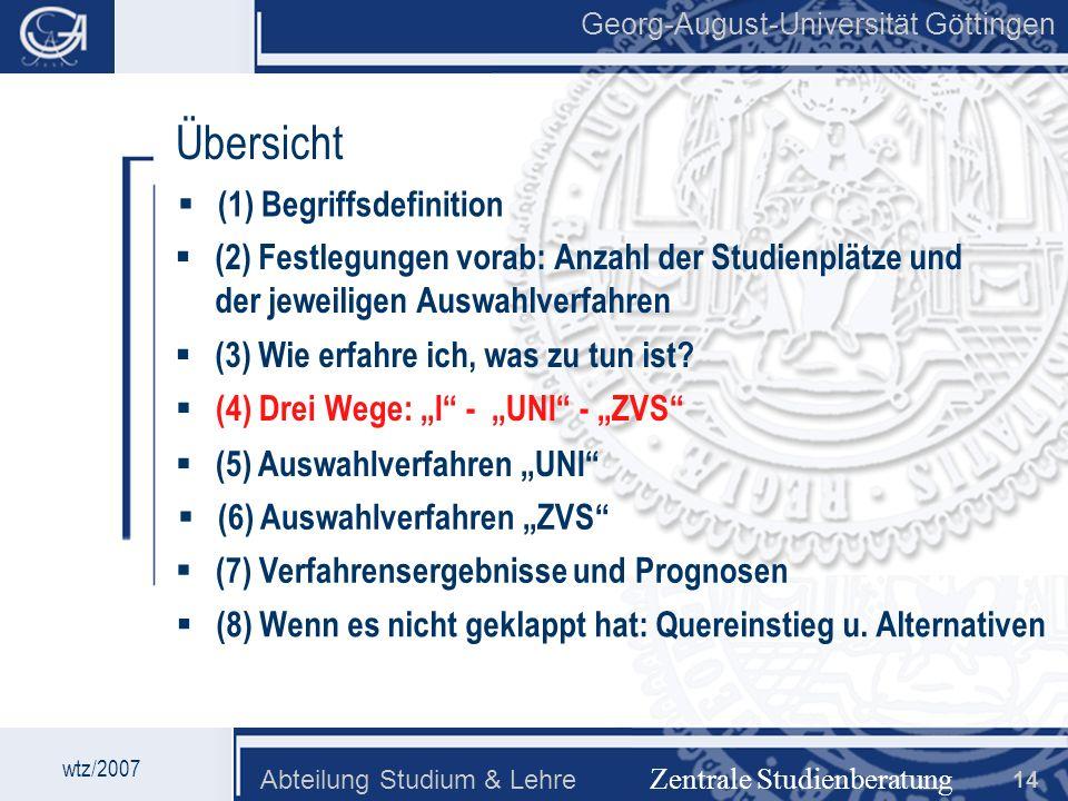 Georg-August-Universität Göttingen Abteilung Studium & Lehre 14 Georg-August-Universität Göttingen Zentrale Studienberatung Übersicht (2) Festlegungen