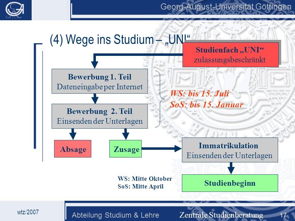 Georg-August-Universität Göttingen Abteilung Studium & Lehre 17 Georg-August-Universität Göttingen (4) Wege ins Studium – UNI Zentrale Studienberatung