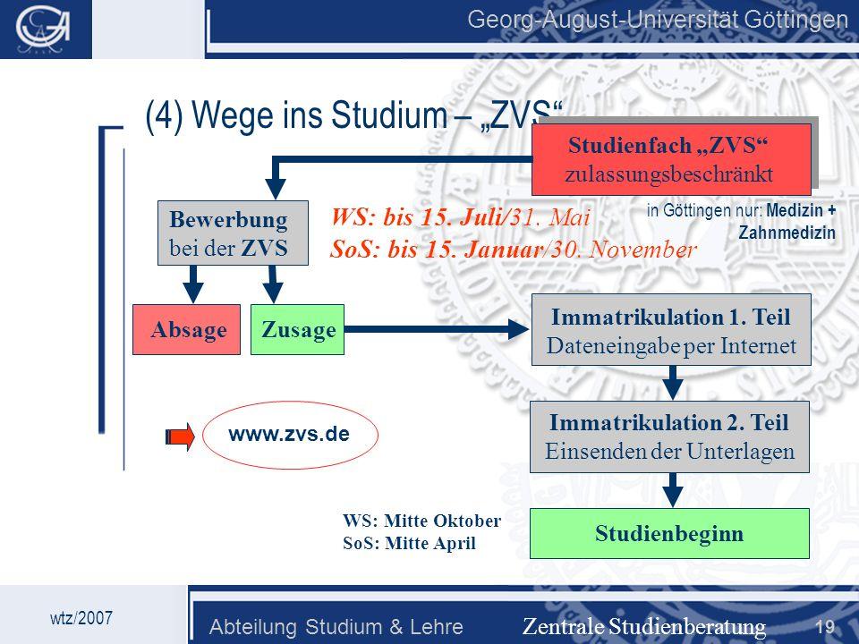 Georg-August-Universität Göttingen Abteilung Studium & Lehre 19 Georg-August-Universität Göttingen (4) Wege ins Studium – ZVS Zentrale Studienberatung