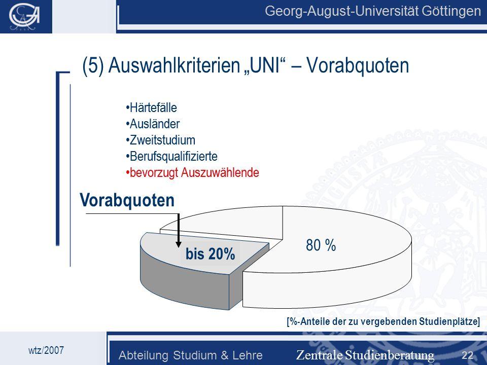 Georg-August-Universität Göttingen Abteilung Studium & Lehre 22 bis 20% Georg-August-Universität Göttingen Zentrale Studienberatung (5) Auswahlkriteri