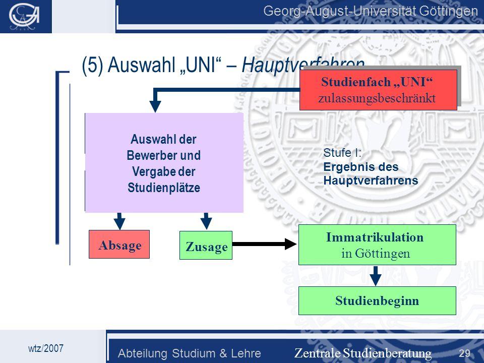 Georg-August-Universität Göttingen Abteilung Studium & Lehre 29 Georg-August-Universität Göttingen (5) Auswahl UNI – Hauptverfahren Zentrale Studienbe