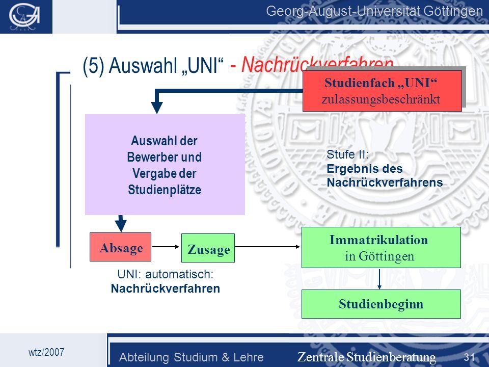 Georg-August-Universität Göttingen Abteilung Studium & Lehre 31 Georg-August-Universität Göttingen (5) Auswahl UNI Zentrale Studienberatung Absage Bew