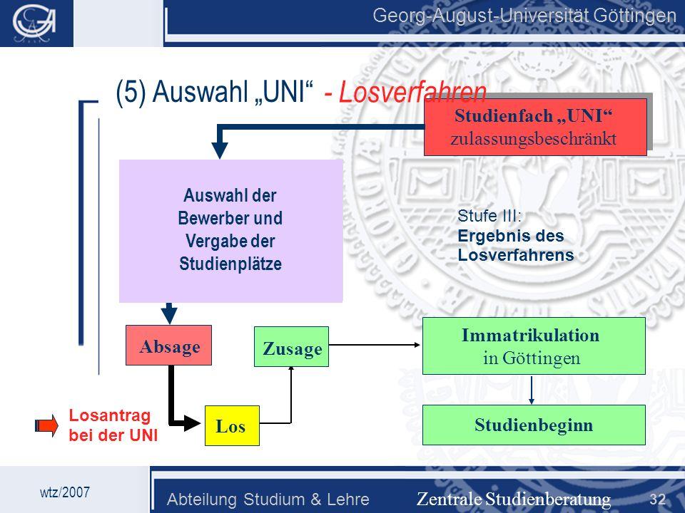Georg-August-Universität Göttingen Abteilung Studium & Lehre 32 Georg-August-Universität Göttingen (5) Auswahl UNI Zentrale Studienberatung Studienfac