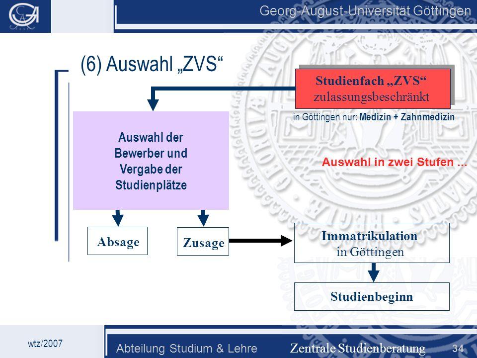 Georg-August-Universität Göttingen Abteilung Studium & Lehre 34 Georg-August-Universität Göttingen (6) Auswahl ZVS Zentrale Studienberatung Studienfac