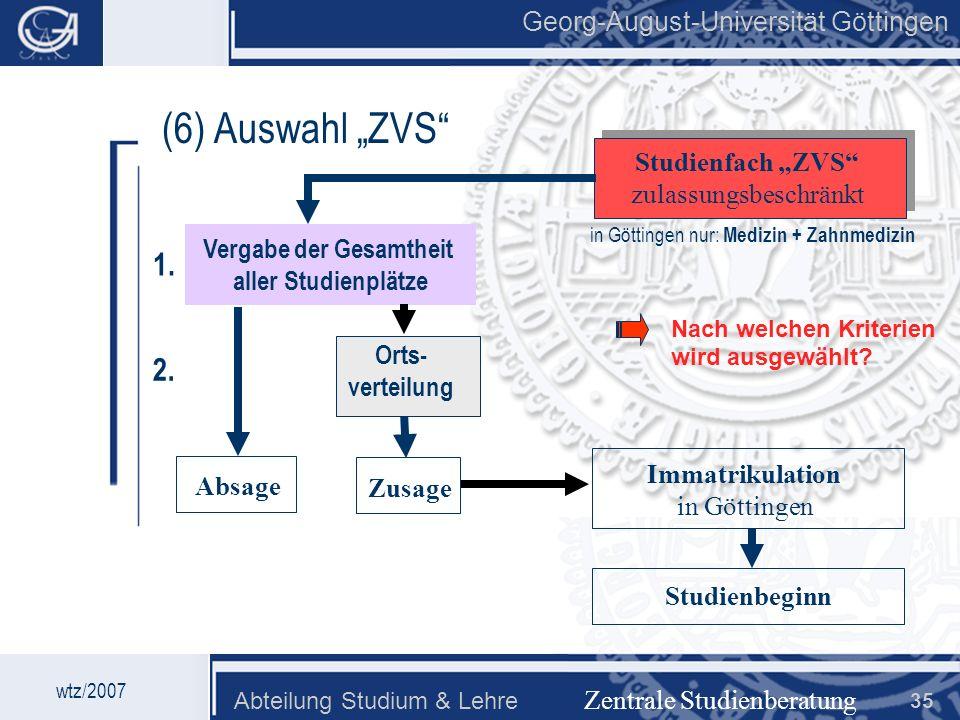 Georg-August-Universität Göttingen Abteilung Studium & Lehre 35 Georg-August-Universität Göttingen (6) Auswahl ZVS Zentrale Studienberatung Studienfac