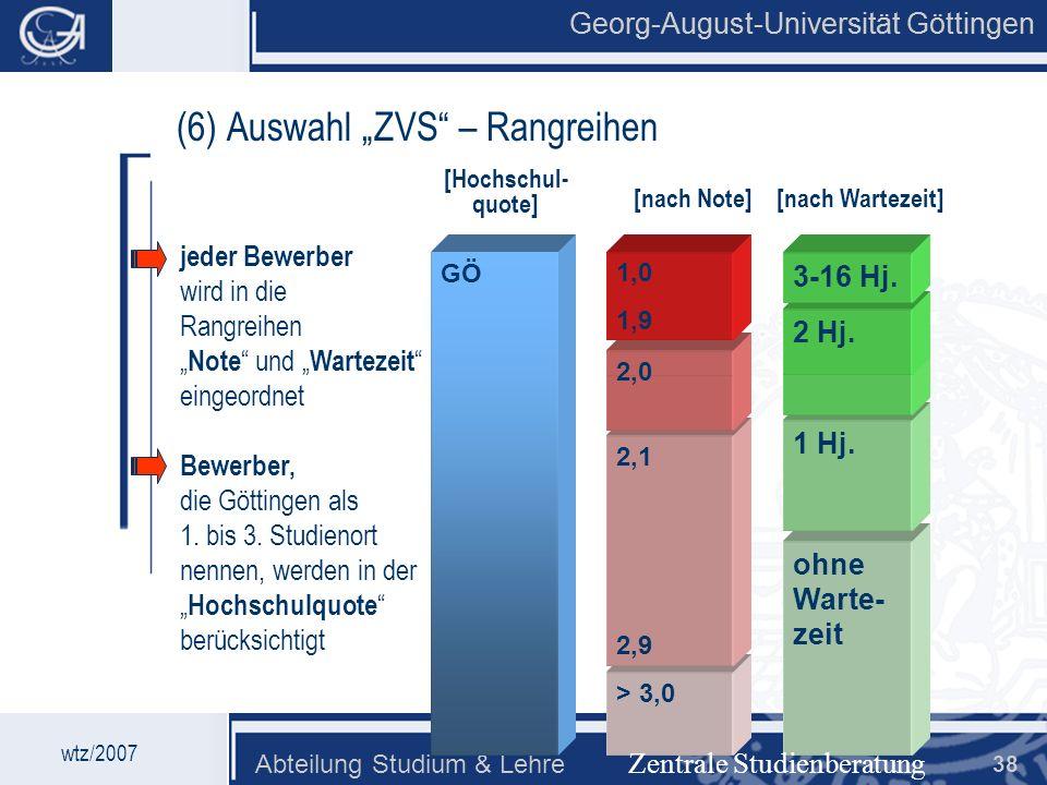 Georg-August-Universität Göttingen Abteilung Studium & Lehre 38 Georg-August-Universität Göttingen (6) Auswahl ZVS – Rangreihen wtz/2007 ohne Warte- z