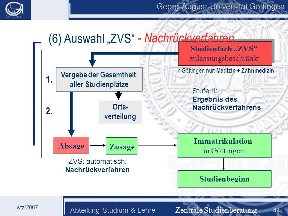 Georg-August-Universität Göttingen Abteilung Studium & Lehre 44 Georg-August-Universität Göttingen (6) Auswahl ZVS Zentrale Studienberatung Studienfac