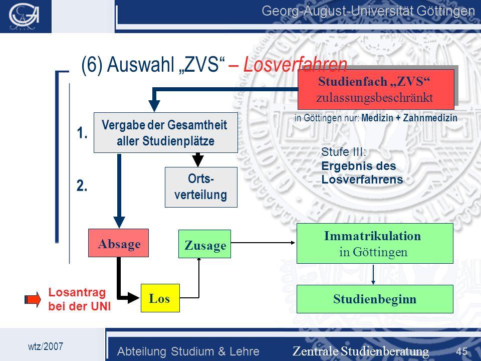 Georg-August-Universität Göttingen Abteilung Studium & Lehre 45 Georg-August-Universität Göttingen (6) Auswahl ZVS Zentrale Studienberatung Studienfac