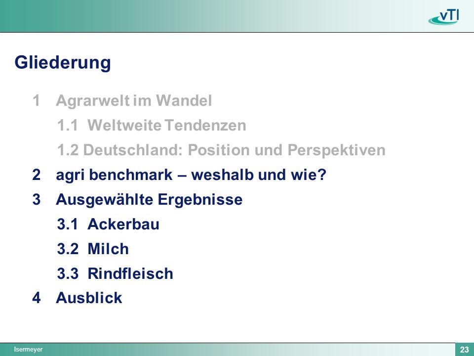 Isermeyer 23 Gliederung 1Agrarwelt im Wandel 1.1 Weltweite Tendenzen 1.2 Deutschland: Position und Perspektiven 2agri benchmark – weshalb und wie? 3Au