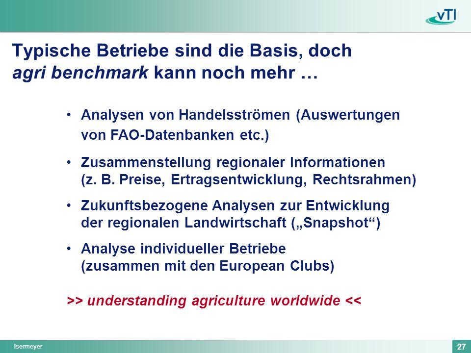 Isermeyer 27 Analysen von Handelsströmen (Auswertungen von FAO-Datenbanken etc.) Zusammenstellung regionaler Informationen (z. B. Preise, Ertragsentwi