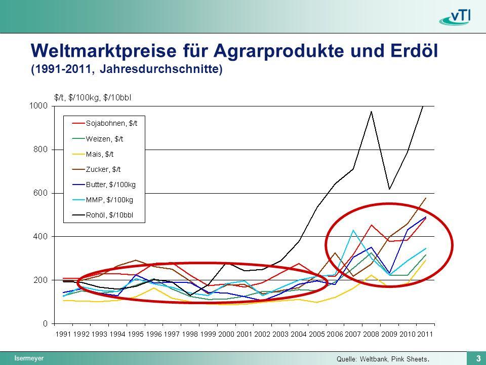 Isermeyer 3 Weltmarktpreise für Agrarprodukte und Erdöl (1991-2011, Jahresdurchschnitte) Quelle: Weltbank, Pink Sheets.