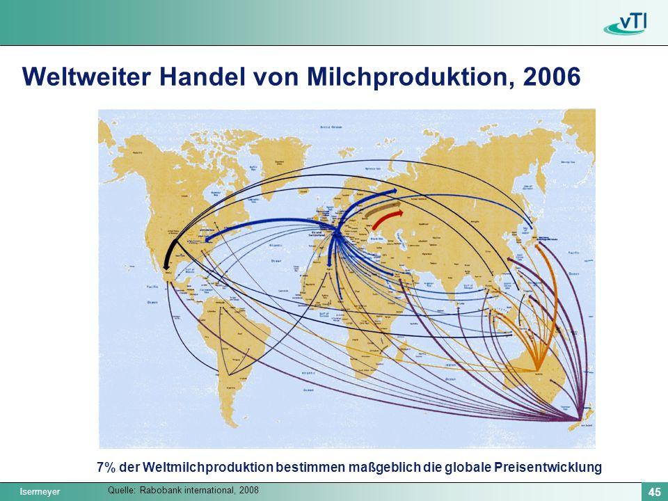 Isermeyer 45 Weltweiter Handel von Milchproduktion, 2006 Quelle: Rabobank international, 2008 7% der Weltmilchproduktion bestimmen maßgeblich die globale Preisentwicklung