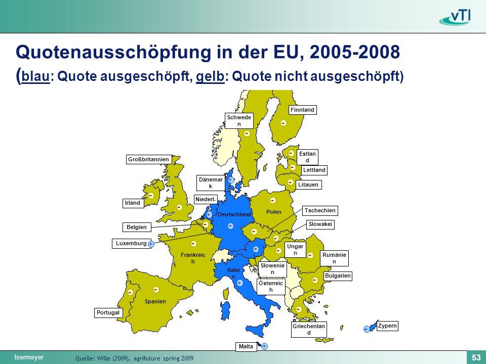 Isermeyer 53 Quotenausschöpfung in der EU, 2005-2008 ( blau: Quote ausgeschöpft, gelb: Quote nicht ausgeschöpft) - - - - - - - - - - - - - - - - - + + + + + + + Schwede n Finnland Estlan d Lettland Litauen Polen Deutschland Großbritannien Irland Portugal Malta Zypern Griechenlan d Italie n Frankreic h Spanien Dänemar k Niederl.
